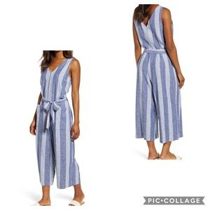 BEACH LUNCH LOUNGE Blue & White Striped Jumpsuit